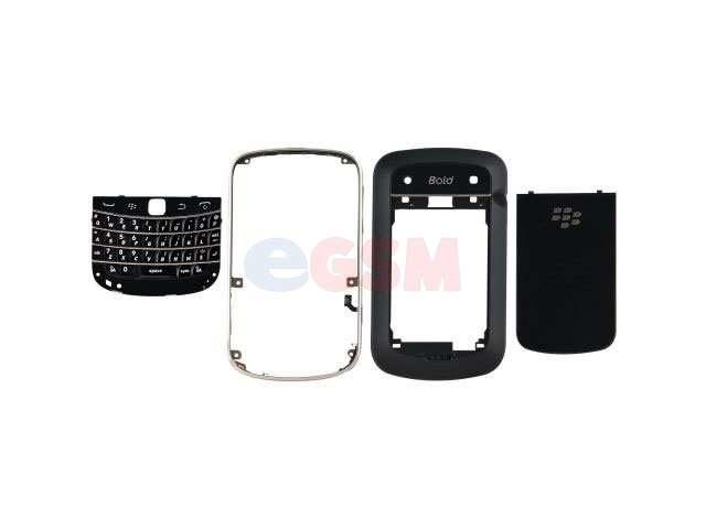 Carcasa BlackBerry 9900 Bold Touch neagra - argintie 4 piese