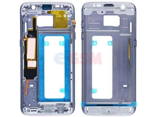 Carcasa fata Samsung SM-G935F Galaxy S7 edge albastra cu butoane