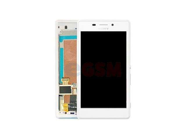 Display cu touchscreen si rama Sony D2303, D2305, D2306, Xperia M2 alb