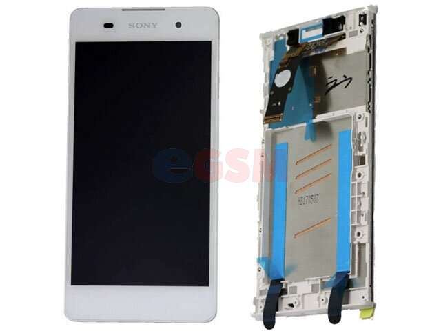 Display cu touchscreen si rama Sony F3311, F3313, Xperia E5 alb