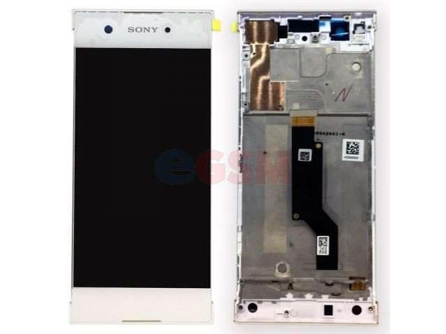 Display cu touchscreen si rama Sony Xperia XA1, G3121, G3123, G3125, Xperia XA1 Dual, G3112, G3116 alb