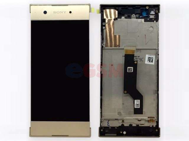 Display cu touchscreen si rama Sony Xperia XA1, G3121, G3123, G3125, Xperia XA1 Dual, G3112, G3116 auriu