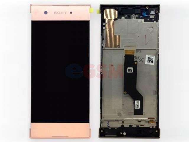 Display cu touchscreen si rama Sony Xperia XA1, G3121, G3123, G3125, Xperia XA1 Dual, G3112, G3116 roz