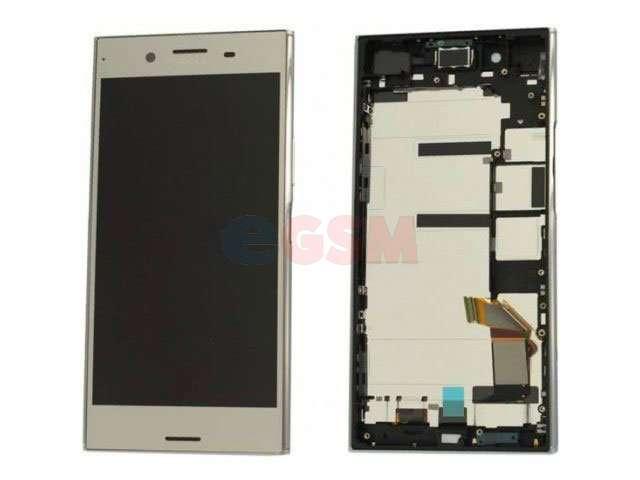 Display cu touchscreen si rama Sony Xperia XZ Premium, G8141, G8142 argintiu