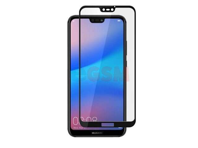 Geam protectie 0.15 mm touchscreen Huawei P20 Pro, CLT-L09, CLT-L29 (5D curved and full cover) negru - transpartent bulk