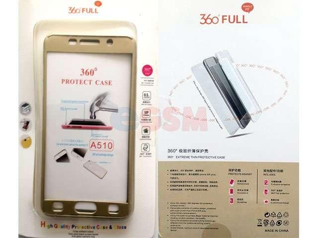 Husa fata spate 360 grade protectie cu folie de sticla display Samsung Galaxy A5 2016 aurie