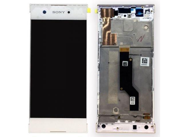 Display cu touchscreen si rama Sony Xperia XA1, G3121, G3123, G3125, Xperia XA1 Dual, G3112, G3116 alb original