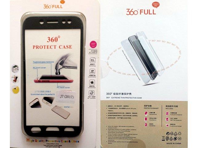 Husa fata spate 360 grade protectie cu folie de sticla display Samsung Galaxy J7 2017